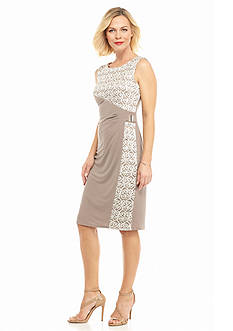 RM Richards Mixed Media Sheath Dress with Sequins