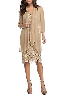 RM Richards Sheer Jacket Lace Shift Dress