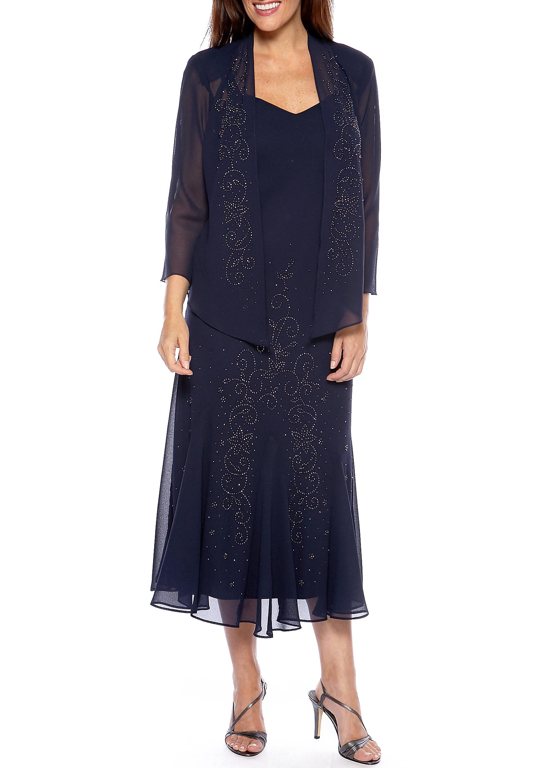 Black dress under knee - Sheer Beaded Jacket Dress