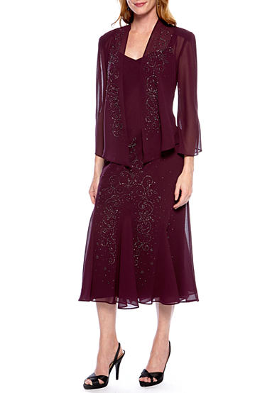 RM Richards Sheer Beaded Jacket Dress