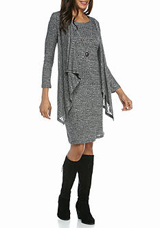 RM Richards Mock Two-Piece Rib Knit Jacket Dress with Necklace