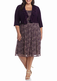 RM Richards Plus Size Ruffle Jacket Dress