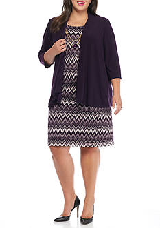 RM Richards Plus Size Mock Jacket Dress with Necklace