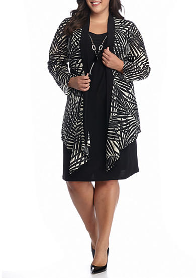 RM Richards Plus Size Flyaway Printed Jacket Dress with Necklace