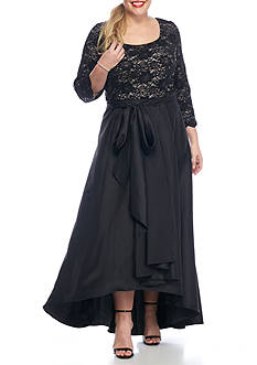 RM Richards Plus Size Lace and Sequin Bodice Hi-Lo Hem Gown