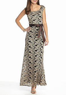 RM Richards Printed Lace Gown with Ribbon Tie Belt