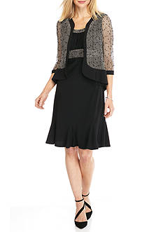 RM Richards Crochet and Sequin Jacket Dress