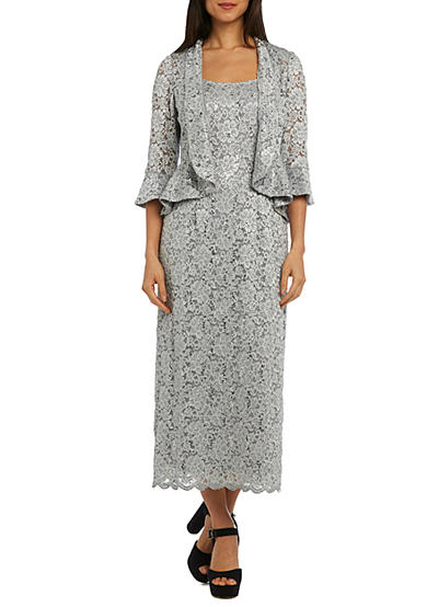 RM Richards Long Lace Jacket Dress | Belk