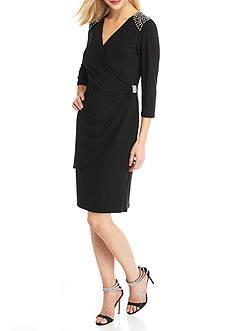 RM Richards Bead Embellished Wrap Dress