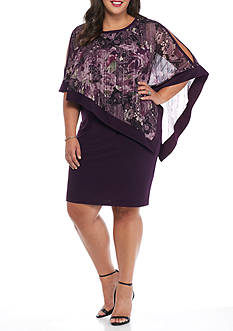 RM Richards Plus Size Printed Chiffon Overlay Sheath Dress