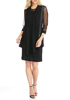 RM Richards Lace and Sequin Inset Jacket Dress