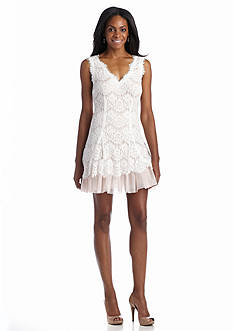 Betsy & Adam Allover Lace and Mesh Cocktail Dress