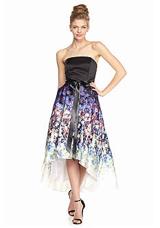 Betsy & Adam Strapless High Low Hem Gown