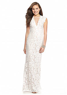Betsy & Adam Bead Embelished Lace Gown