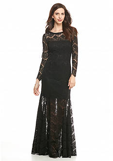 Betsy & Adam Illusion Neckline Lace Gown