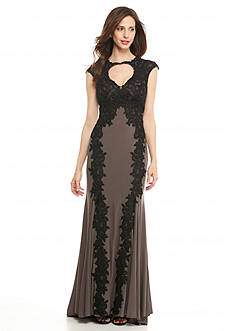 Betsy & Adam Embroidered Lace Overlay Gown