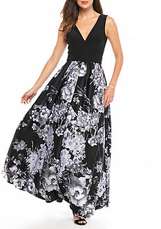 Betsy & Adam Floral Printed Skirt Ballgown