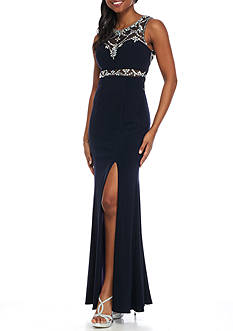 Betsy & Adam Bead Embellished Jersey Gown