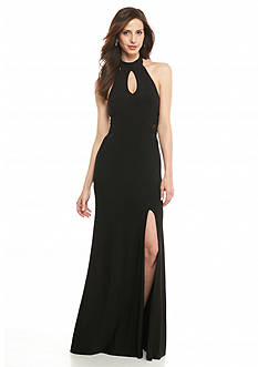 Betsy & Adam Illusion Mesh Side Inset Halter Gown