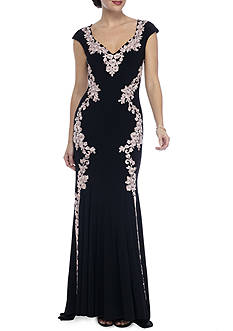 Betsy & Adam Floral Embroidered Jersey Gown