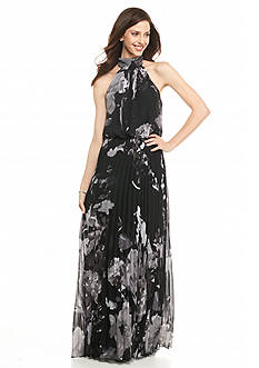 Betsy & Adam Floral Printed Pleated Halter Gown