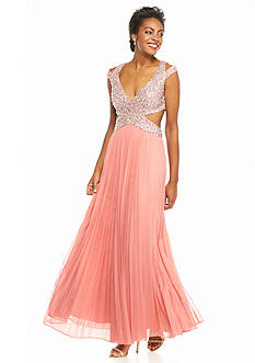 Betsy & Adam Beaded Panel Bodice Gown