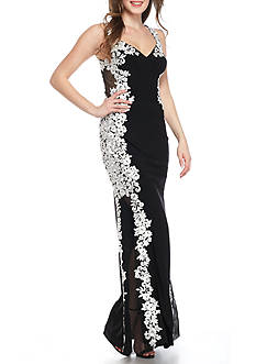 Betsy & Adam Embroidered Jersey Gown