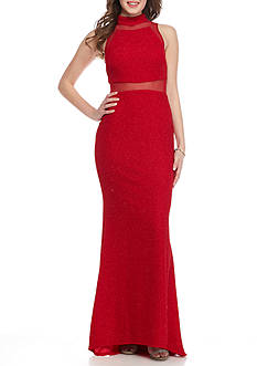 Betsy & Adam Mock Neck Glitter Gown with Mesh Insets