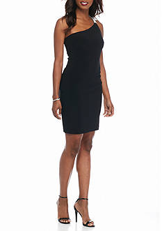 Betsy & Adam One Shoulder Cocktail Dress