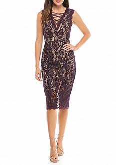 Betsy & Adam Floral Lace Midi Sheath Dress