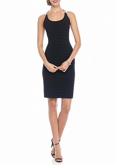 Betsy & Adam T-Back Rhinestone Strap Shutter Sheath Dress