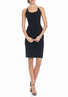 Belk & Co. T-Back Rhinestone Strap Shutter Sheath Dress