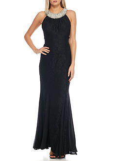 Betsy & Adam Pearl Neck Glitter Lace Gown