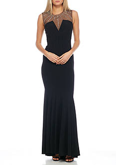 Betsy & Adam Bead Embellished Seamed Gown