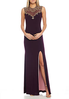 Betsy & Adam Bead Embellished Open Back Jersey Gown