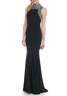 Betsy & Adam Mesh Embellished Jersey Gown