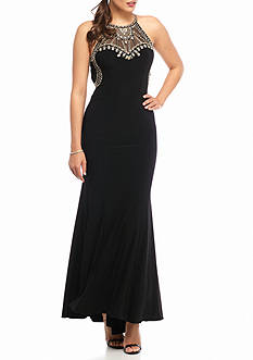 Betsy & Adam Bead Embellished Halter Jersey Gown with Open Back