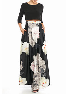 Betsy & Adam Floral Printed Skirt Gown with Illusion Mesh Waistline