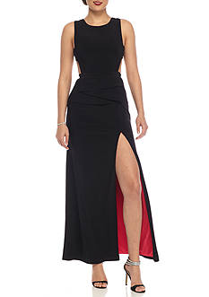 Betsy & Adam Black Cutout Gown