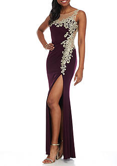 Betsy & Adam Embroidered Bead Embellished Jersey Gown