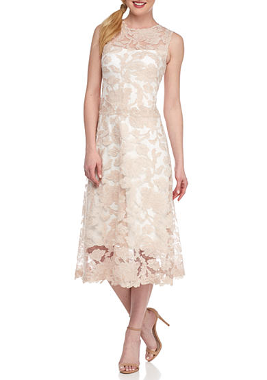 Betsy & Adam T-length Lace Cocktail Dress