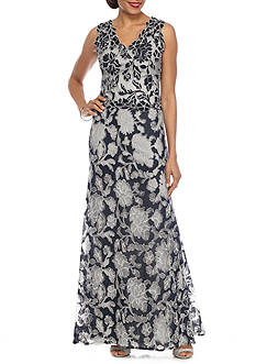 Betsy & Adam Lace V-Neck Gown