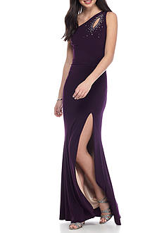 Betsy & Adam One Shoulder Cutout Gown