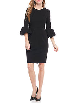 Betsy & Adam Crepe Bell Sleeve Dress
