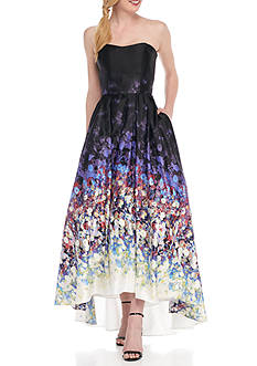 Betsy & Adam Floral Strapless Gown