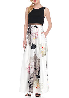 Betsy & Adam Mock Two Piece Floral Gown