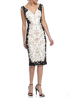 Betsy & Adam Embroidered Lace Cocktail Dress
