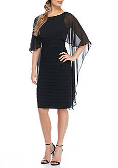 Betsy & Adam Sheer Overlay Shutter Dress