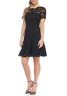 Betsy & Adam Lace Scallop Neck Dress