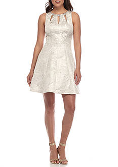 Betsy & Adam Metallic Jacquard Fit and Flare Dress